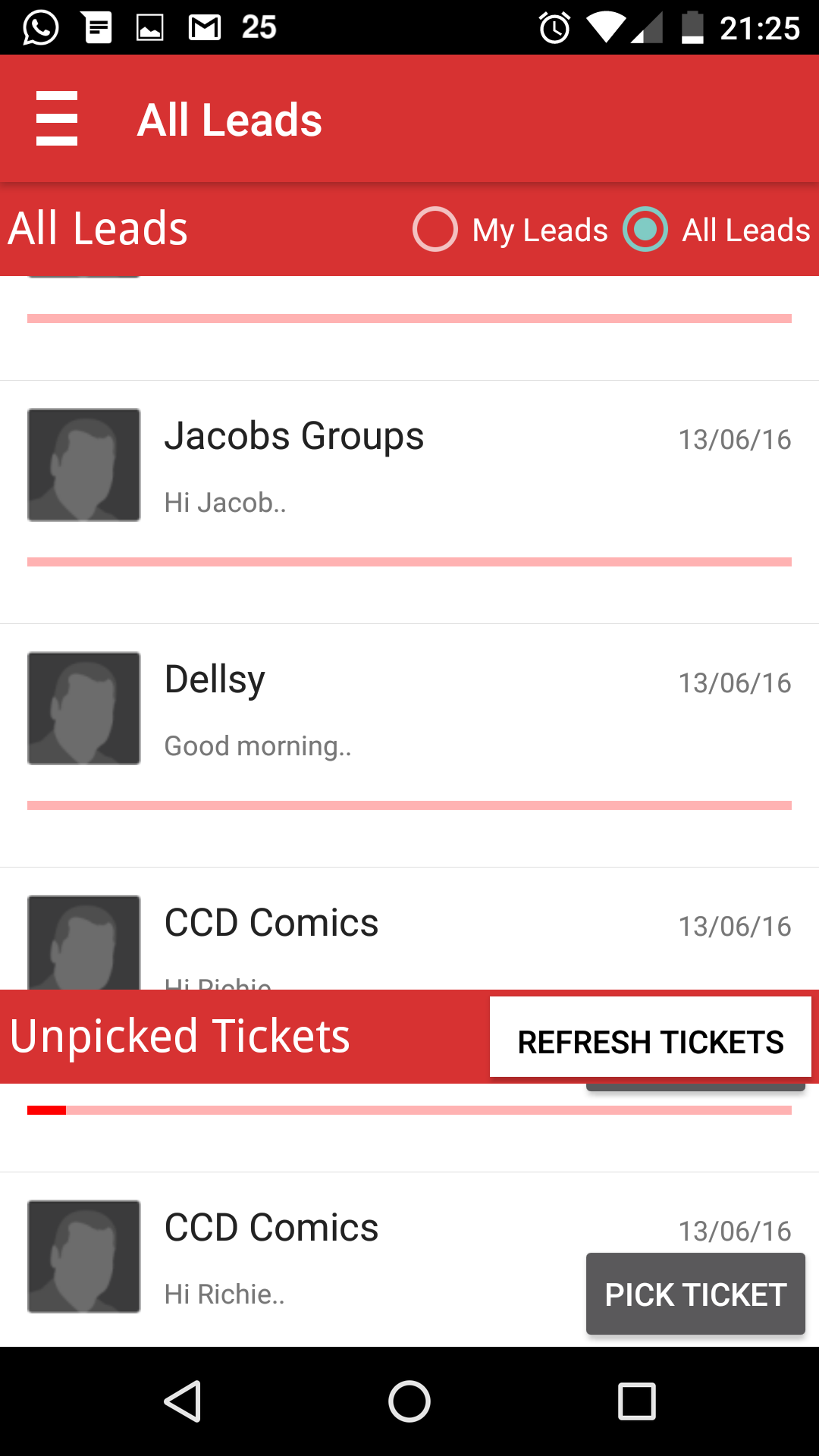 SOCAmps Mobile CRM My TIckets